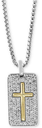 "Effy Men's White Sapphire Cross Dog Tag 22"" Pendant Necklace (1-3/8 ct. t.w.) in Sterling Silver & 18k Gold"