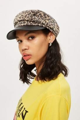 Topshop Leopard Print Baker Boy Hat