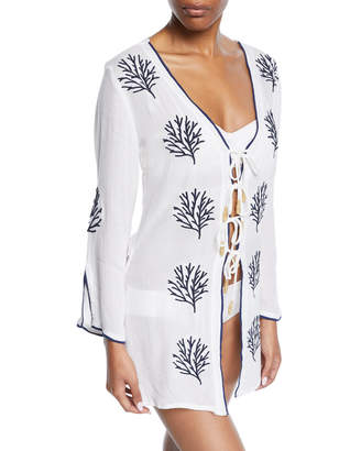 Letarte Coral Embroidered Tie-Front Coverup Tunic