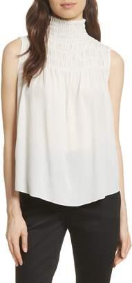 Frame Smocked Sleeveless Silk Blouse