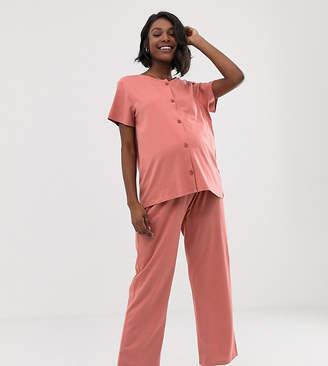Asos DESIGN Maternity button shirt and pants set