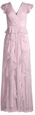 BCBGMAXAZRIA Women's Ruffled Lace& Tulle Gown - Lavender - Size 0