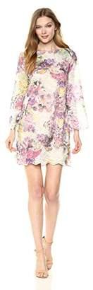 Rachel Roy Women's Bell Sleeve Printed Lace Shift Dress