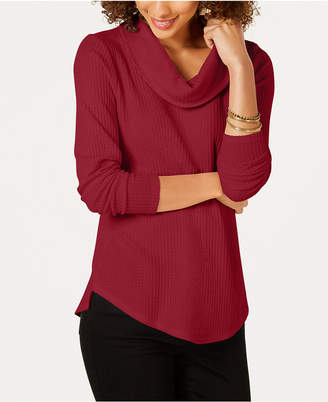 Style&Co. Style & Co Petite Cowl Neck Waffle Top