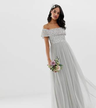 Maya Bridesmaid bardot maxi tulle dress with tonal delicate sequins in soft gray