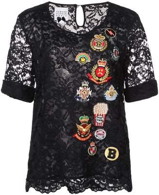 Edward Achour Paris embroidered patch blouse