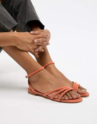 MANGO faux suede strappy sandal in orange