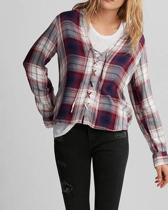 Express Plaid Full Lace-Up Shirt