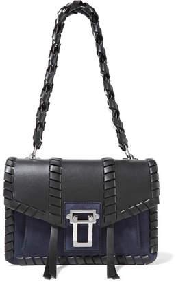 Proenza Schouler Hava Whipstitched Leather And Suede Shoulder Bag - Black