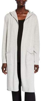 Eileen Fisher Plus Size Hooded Peruvian Organic Cotton Long Cardigan