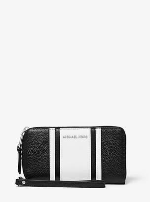 0026331bdd MICHAEL Michael Kors Large Striped Pebbled Leather Smartphone Wristlet