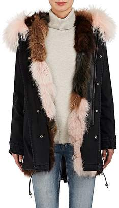 Mr & Mrs Italy Women's Fur-Lined Denim Midi-Parka