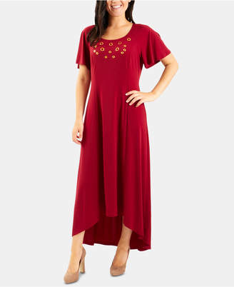 NY Collection High-Low Grommeted Dress