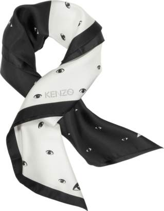 Kenzo Black and White Eye Printed Silk Bandana