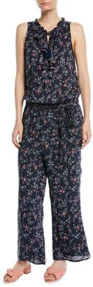 Paige Paletta Floral-Print Sleeveless Ruffle Jumpsuit