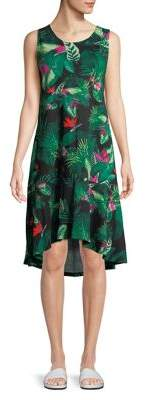 Lord & Taylor Plus Sleeveless Floral Sharkbite Dress