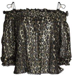 Just Cavalli Off-The-Shoulder Shirred Metallic Lace Blouse