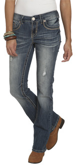 Wet Seal WetSeal Embroidered Destroyed Bootcut Jean Med Wash