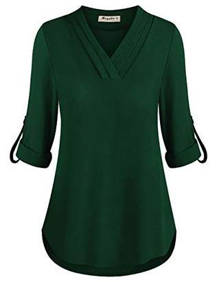 Moyabo Plus Size Tunic Blouses for Women 3/4 Cuffed Sleeve Chiffon V Neck Blouse Pleated Shirt Loose Fit Business Tops Black Green