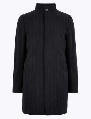 Marks and Spencer Wool Pinstripe Funnel Neck Overcoat