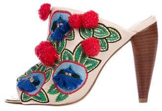 Tory Burch Embroidered Leather Mules