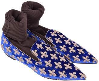 Dolce & Gabbana Blue Velvet Flats