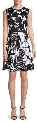 Donna Karan Double-Print Fit-&-Flare Dress