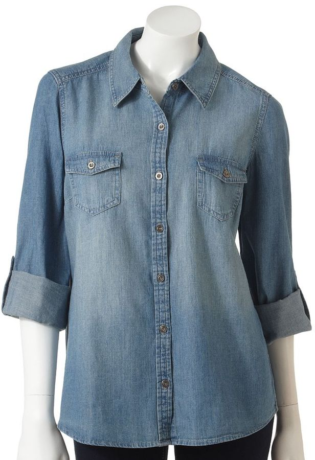 Sonoma life + style ® roll-tab chambray camp shirt