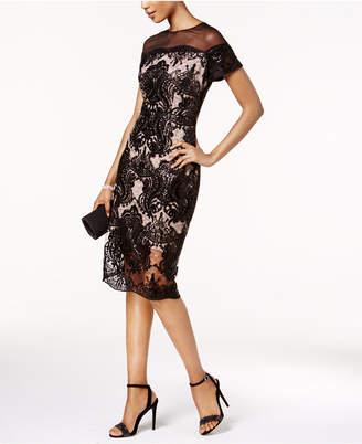Jax Sequined Lace Illusion Sheath Dress