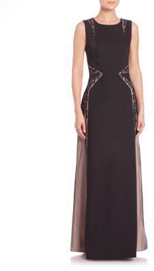 BCBGMAXAZRIAMalik Embellished Contrast Gown