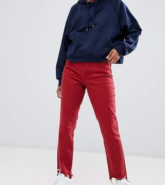 Only Petite asymmetric hem mom jean in red