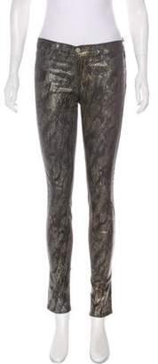 J Brand Mid-Rise Snakeskin Print Leggings
