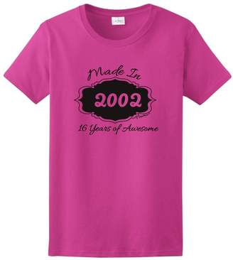 ThisWear 16th Birthday Gift Made 2002 16 Years Awesome Ladies T-Shirt
