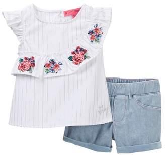 Betsey Johnson Asymmetrical Ruffle Top & Knit Denim Shorts Set (Baby Girls)
