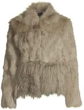 Adrienne Landau Cropped Fox, Rabbit& Lamb Fur Jacket