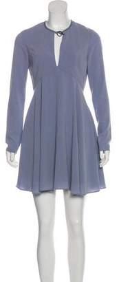 Halston Leather-Trimmed Mini Dress