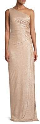 Calvin Klein Ruched Metallic One-Shoulder Gown