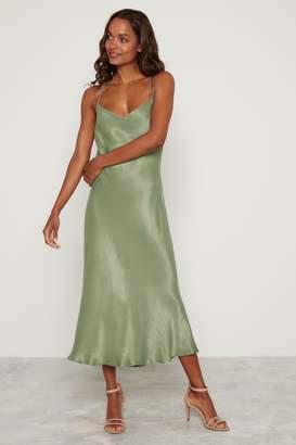 F&F Womens Khaki Circle Trim Slip Dress - Green