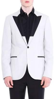 Lanvin Two-Tone Peak Lapel Evening Jacket, Ivory