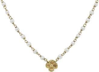 One Kings Lane Vintage 14K Gold & Pearl Flower Necklace - Raymond Lee Jewelers
