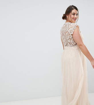 Little Mistress Plus Maxi Dress With Lace Back