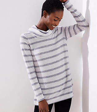 LOFT Striped Cowl Neck Tunic Top