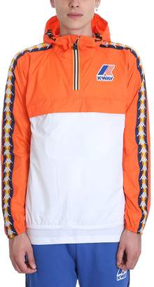 K-Way K Way Kappa X Collaboration Jacket In White-orange Nylon