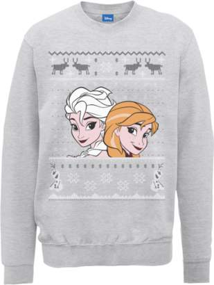Disney Frozen Christmas Elsa And Anna Grey Christmas Sweatshirt