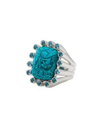 Stephen Dweck Carved Turquoise & Blue Topaz Ring