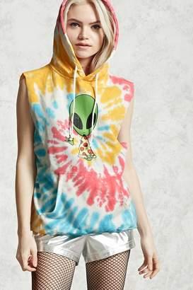 Forever 21 Sleeveless Tie-Dye Alien Hoodie