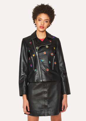 Paul Smith Women's Black Leather Biker Jacket With 'Kyoto Floral' Embroidery
