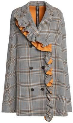 MSGM Ruffled Checked Cotton-Blend Twill Cape