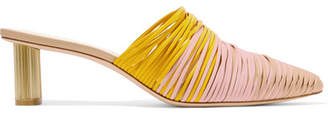 Cult Gaia Sage Leather Mules - Yellow