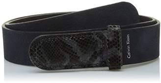 Calvin Klein Women's Exotic Leather Buckle Belt (Ombre Blue 448)